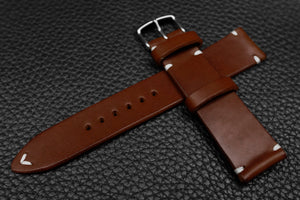Italian Chocolate Side Stitch Leather Watch Strap