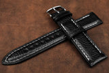 Italian Embossed Black Full Padded Leather Watch Strap