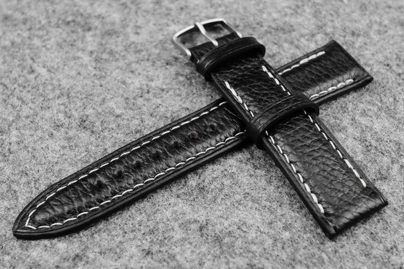 Italian Embossed Black Full Padded Leather Watch Strap (22/20)