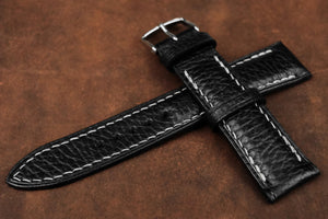 Italian Embossed Black Half Padded Leather Watch Strap