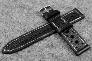 RM: Italian Embossed Black Racing Leather Watch Strap (22/20)