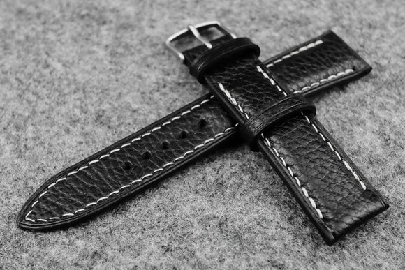 Italian Embossed Black Half Padded Leather Watch Strap (22/20)