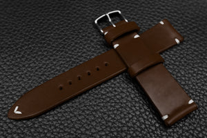 Italian Espresso Side Stitch Leather Watch Strap