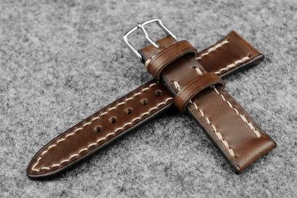 RM: Italian Espresso Full Stitch Leather Watch Strap (19/16)