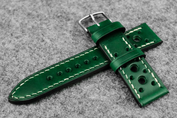 RM: Italian Green Racing Leather Watch Strap (22/20)