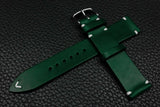 Italian Green Side Stitch Leather Watch Strap