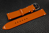 Italian Orange Side Stitch Leather Watch Strap