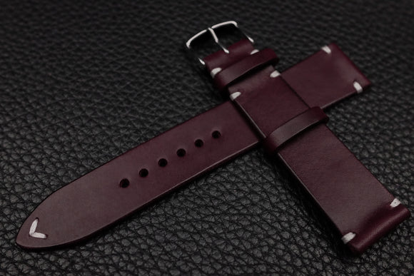 Italian Purple Side Stitch Leather Watch Strap