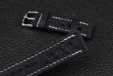 Italian Black Racing Leather Watch Strap