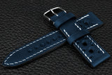 Italian Blue Racing Leather Watch Strap