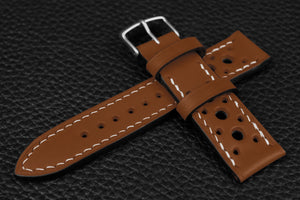 Italian Chestnut Racing Leather Watch Strap