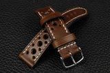 Italian Chocolate Racing Leather Watch Strap