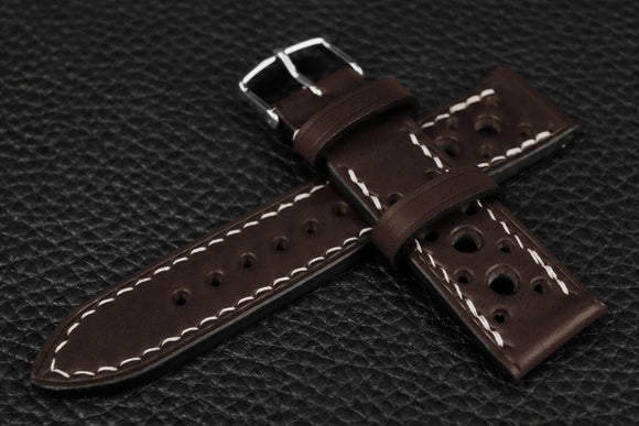 Italian Espresso Racing Leather Watch Strap