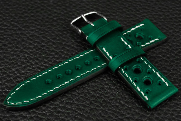 Italian Green Racing Leather Watch Strap