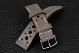 Italian Grey Racing Leather Watch Strap