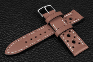 Italian Pink Racing Leather Watch Strap