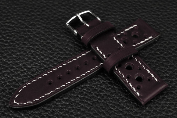 Italian Purple Racing Leather Watch Strap