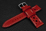 Italian Red Racing Leather Watch Strap