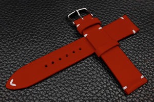 Italian Red Side Stitch Leather Watch Strap