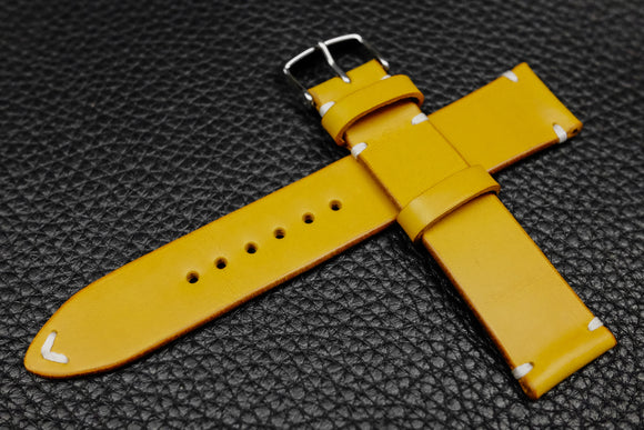 Italian Yellow Side Stitch Leather Watch Strap