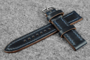 RM: Horween Chromexcel Navy Full Stitch Leather Watch Strap (22/20)