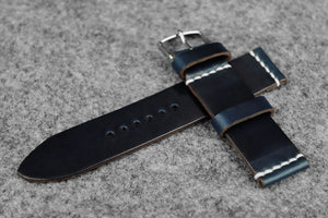OO: Horween Chromexcel Navy Unlined Leather Watch Strap (22/22)