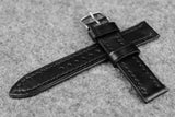 RM: Italian Black Full Stitch Leather Watch Strap (19/18)