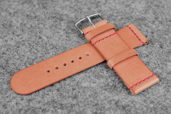 RM: Italian Pink Unlined Leather Watch Strap (24/24)