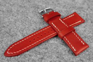 RM: Italian Red Full Stitch Leather Watch Strap (24/22)