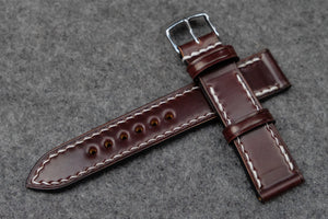 RM: Horween Shell Cordovan Colour 6 Full Stitch Leather Watch Strap (20/18)