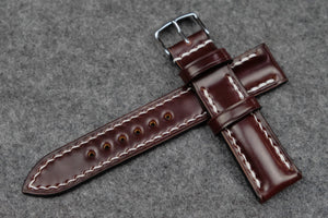 RM: Horween Shell Cordovan Colour 6 Half Padded Leather Watch Strap (20/18)