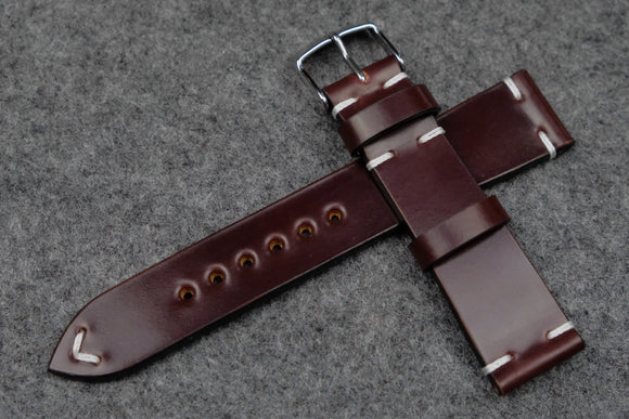 RM: Horween Shell Cordovan Colour 6 Side Stitch Leather Watch Strap (20/18)