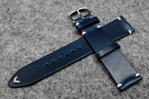 RM: Italian Blue Side Stitch Leather Watch Strap (22/20)
