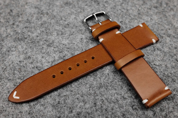 RM: Italian Chestnut Side Stitch Leather Watch Strap (22/20)