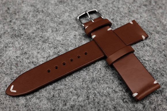 RM: Italian Chocolate Side Stitch Leather Watch Strap (22/20)