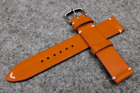 RM: Italian Orange Side Stitch Leather Watch Strap (22/20)