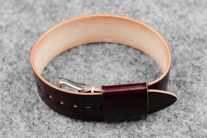 RM: Japanese Shell Cordovan Burgundy Wide Pass Through Watch Strap (22)