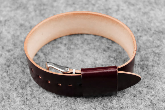 OO: Shell Cordovan Burgundy Wide Pass Through Watch Strap (22)