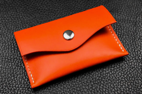 NEW: Italian Leather Snap Wallet (Orange)