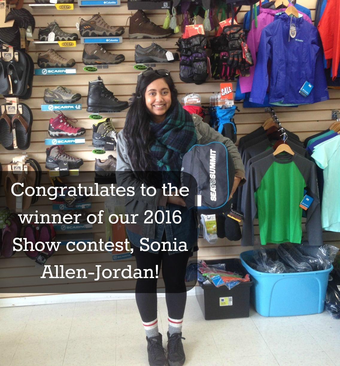 Congratulates to the winner of our 2016 show contest, Sonia Allen-Jordan!
