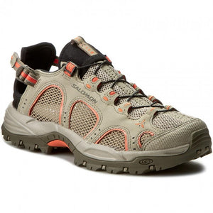 Salomon Women's Techamphibian 3 Water Shoe, Vintage Khaki/Bungee/Living Coral