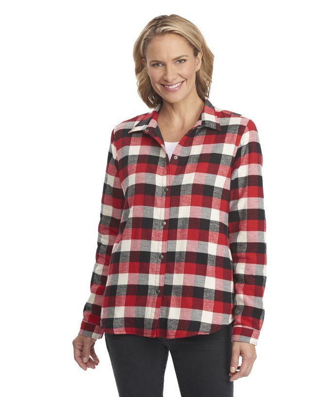 63d4938e7e9 Woolrich Pemberton Fleece Lined Flannel Shirt Jacket, Womens Old Red Buffalo