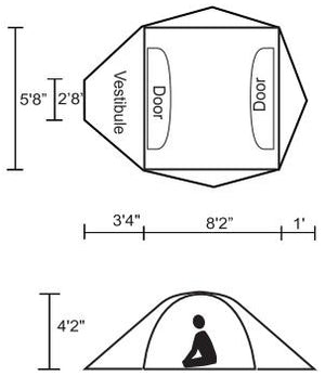 Chinook Cyclone 3 Person 4-Season Tent with FiberGlass Poles