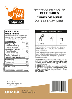 Happy Yak Freeze Dried Cooked Beef Cubes (50 grams)