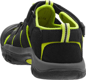 Keen Newport H2 Youth Sandal,Water Shoe, Black/Lime Green