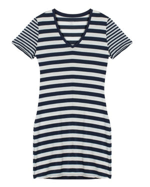 Icebreaker Tech Lite SS V Dress Stripe, Admiral Blue/Snow