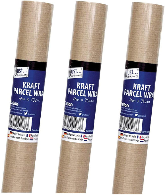3Ace Crafts Brown Parcel/Kraft Wrap Paper Rolls - 60gsm Paper - Ideal for Packing, Strong, Wrapping, Parcels - Size Aprrox 4m x 70cm (Pack of 3)