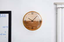 "Load image into Gallery viewer, Driini Analog Dome Glass Wall Clock (12"") - Pine Wood Frame with Two-Tone Wooden Face - Battery Operated with Silent Movement - Large Decorative Clocks for Classroom, Office, Living Room, or Bedrooms."