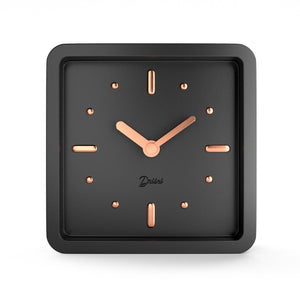 Driini Modern Mid Century Desk and Table Analog Clock (Black Rose Gold)