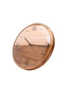 "Driini Analog Dome Glass Wall Clock (12"") - Pine Wood Frame with Two-Tone Wooden Face - Battery Operated with Silent Movement - Large Decorative Clocks for Classroom, Office, Living Room, or Bedrooms."
